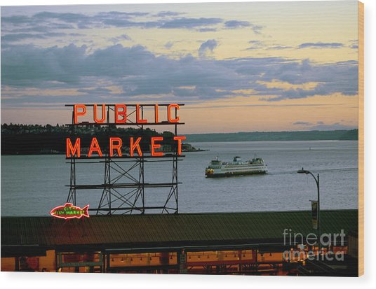 Seattle Ferry At Dusk Wood Print by Ed Rooney
