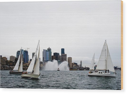 Seattle Fire Boat Sailing Wood Print by Tom Dowd