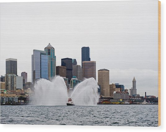 Seattle Fire Boat Wood Print by Tom Dowd