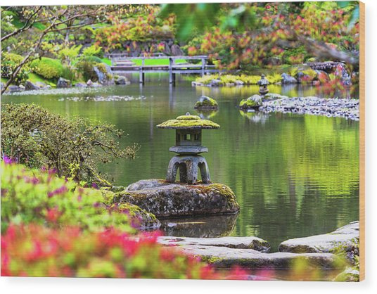 Seattle Japanese Garden Wood Print