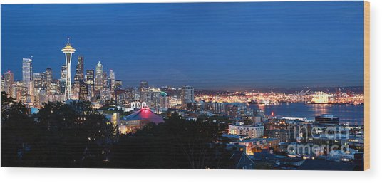 Seattle Panorama At Twilight Wood Print