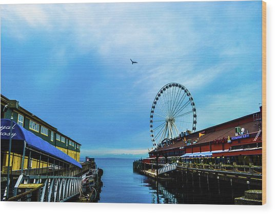 Seattle Pier 57 Wood Print