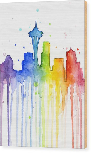 Seattle Rainbow Watercolor Wood Print
