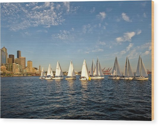 Seattle Sailboat Race Wood Print by Tom Dowd