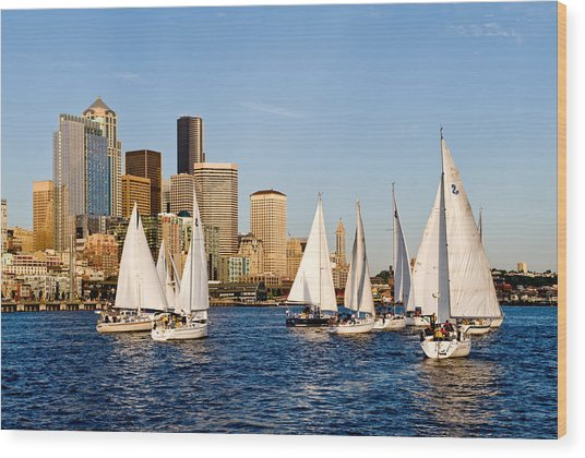 Seattle Sailboats Wood Print by Tom Dowd