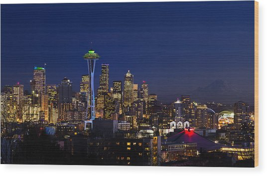 Seattle Seahawks Space Needle Wood Print