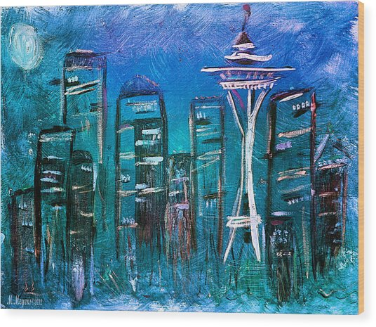 Seattle Skyline 2 Wood Print by Melisa Meyers