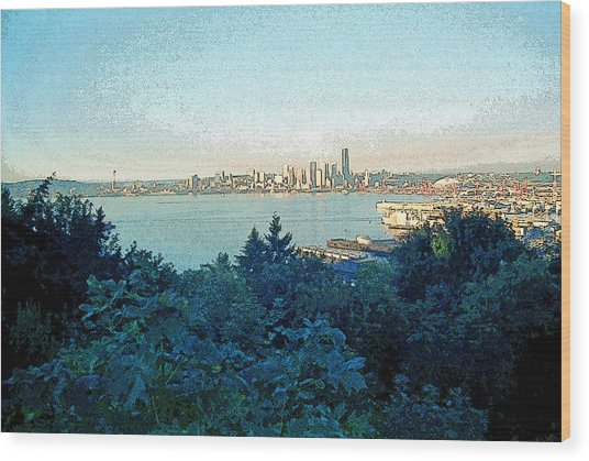 Seattle Skyline 2 Wood Print by Steve Ohlsen