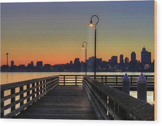 Seattle Skyline From The Alki Beach Seacrest Park Wood Print