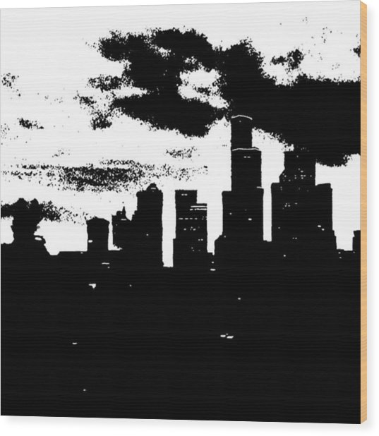 Seattle Skyline In B&w #enlight Wood Print