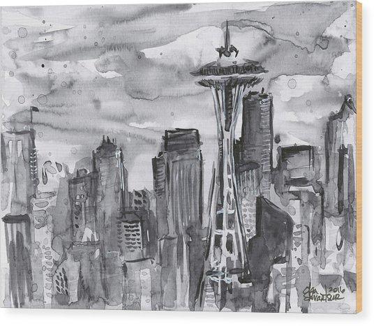 Seattle Skyline Space Needle Wood Print
