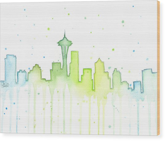 Seattle Skyline Watercolor  Wood Print