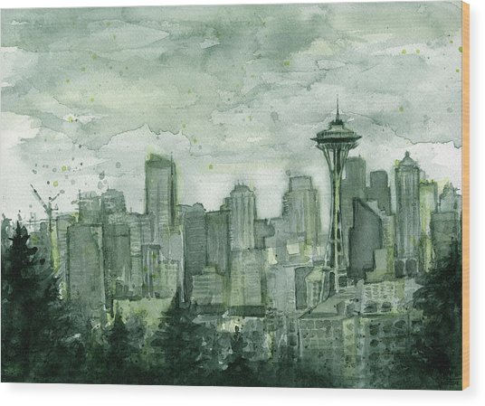 Seattle Skyline Watercolor Space Needle Wood Print