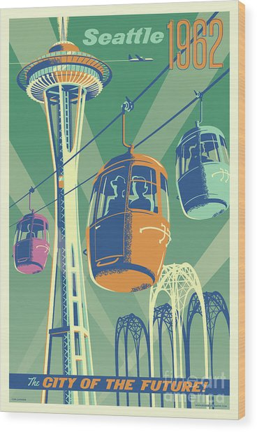 Seattle Space Needle 1962 - Alternate Wood Print