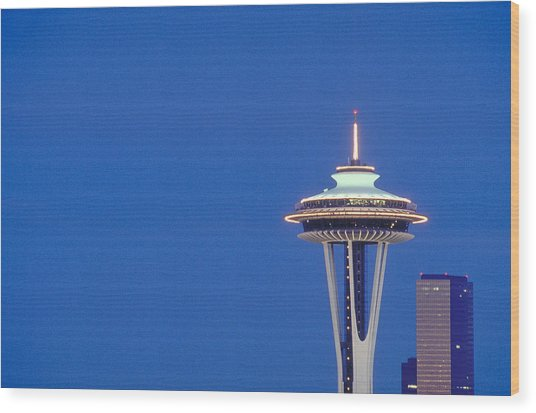 Seattle Space Needle Wood Print by Greg  West