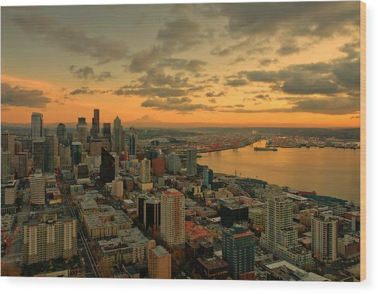 Seattle Sunset Wood Print