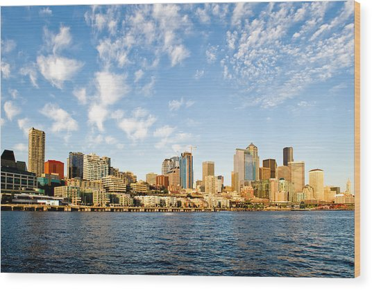 Seattle The Emerald City Wood Print by Tom Dowd