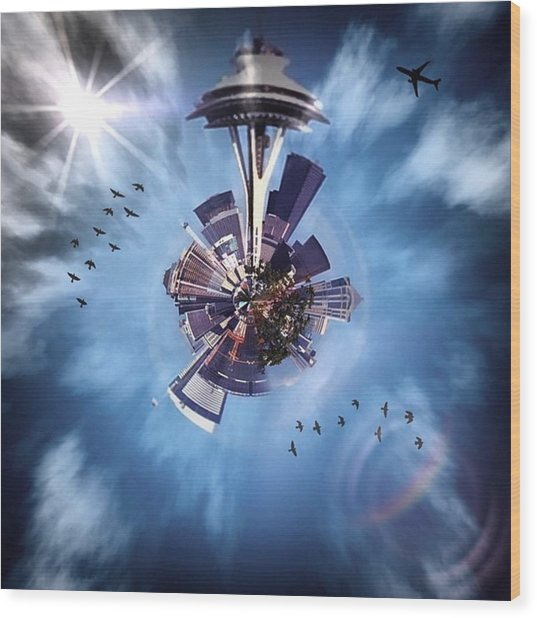 Seattle #tinyworld #spaceneedle Wood Print