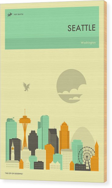 Seattle Travel Poster Wood Print