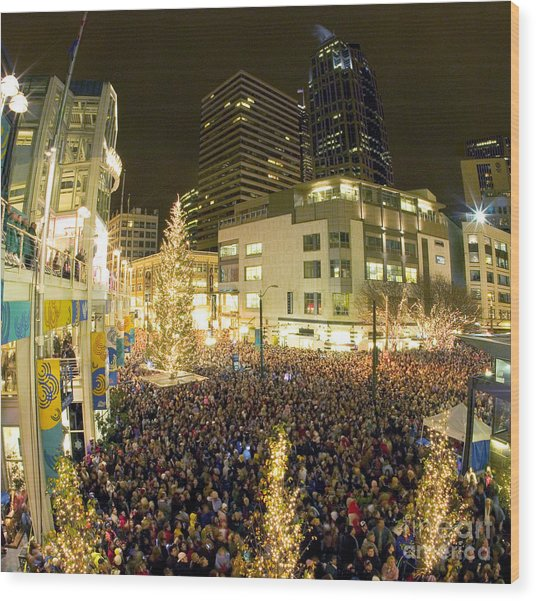 Seattle Westlake Tree Lighting Wood Print