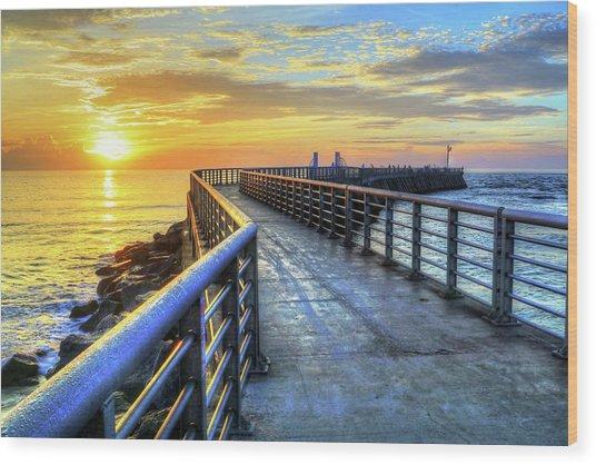 Sebastian Inlet Pier Along Melbourne Beach Wood Print