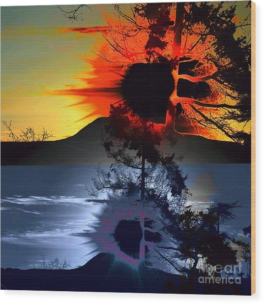 Sechelt Tree Sun And Moon Wood Print