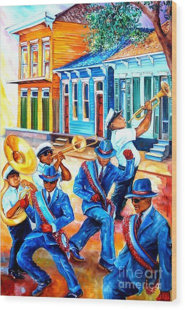 Second Line In Treme Wood Print