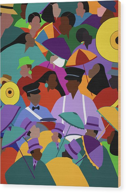 Second Line New Orleans Wood Print