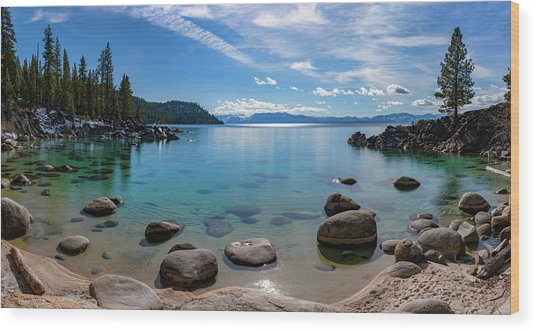Secret Cove Aquas By Brad Scott Wood Print