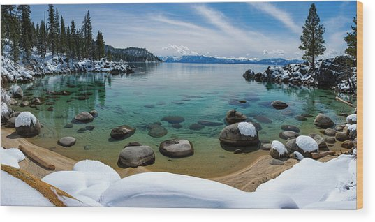 Secret Cove Winter Panorama By Brad Scott Wood Print