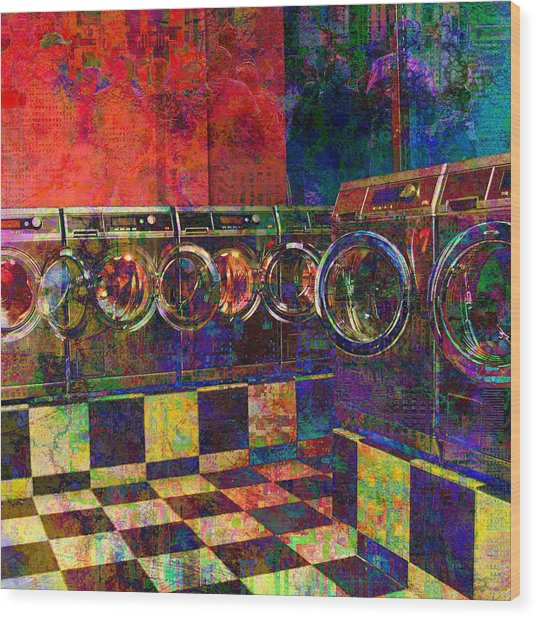 Secret Life Of Laundromats Wood Print