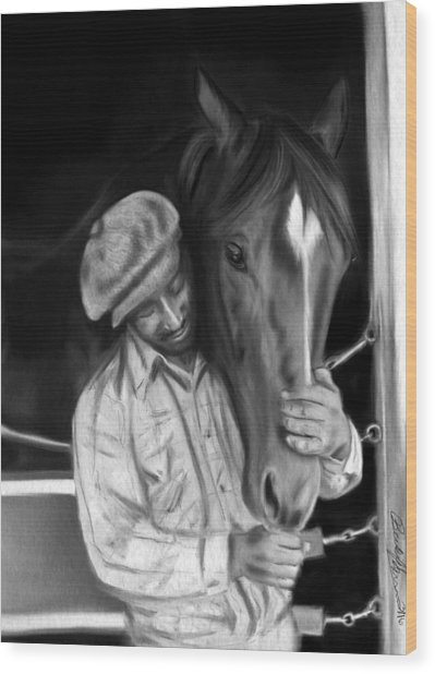 Secretariat And His Groom Wood Print