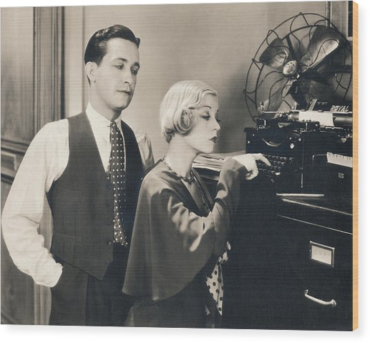 Secretary Tries Typing Wood Print