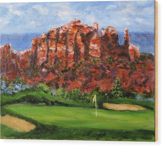 Sedona Golf Wood Print by Thomas Restifo