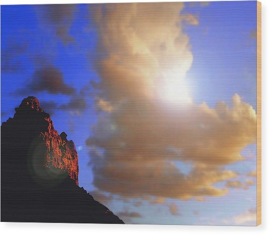 Sedona Mountain Cloud Sun Wood Print