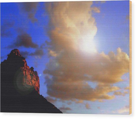 Sedona Mountain Cloud Sun Wood Print