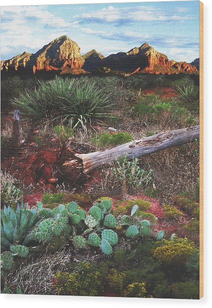 Sedona Mountain Sunrise Wood Print