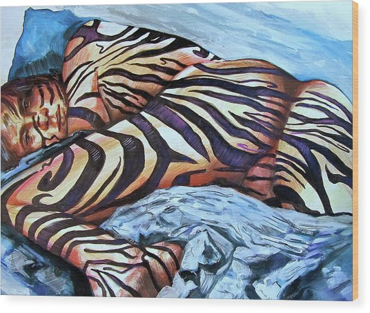 Wood Print featuring the painting Seduction Of Stripes by Rene Capone