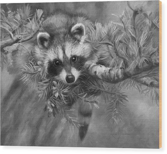 Seeking Mischief - Black And White Wood Print