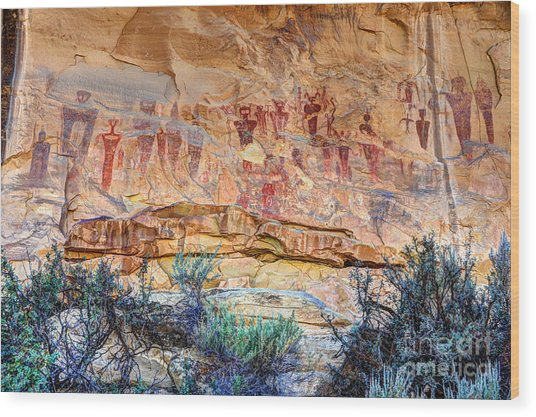 Sego Canyon Indian Petroglyphs And Pictographs Wood Print