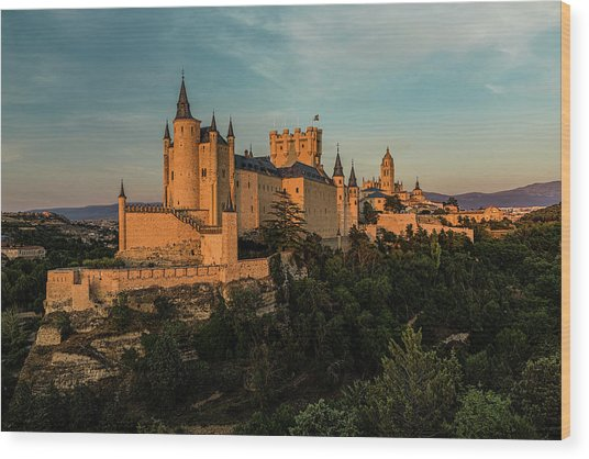 Segovia Alcazar And Cathedral Golden Hour Wood Print