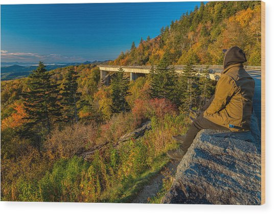Seize The Day At Linn Cove Viaduct Autumn Wood Print
