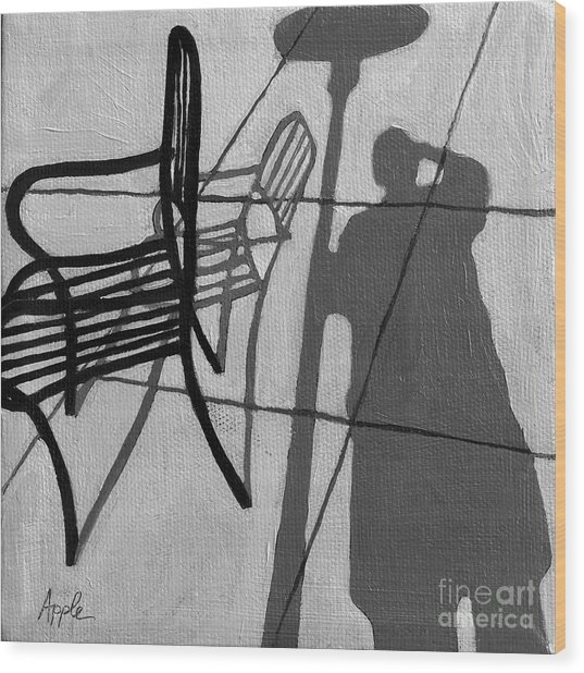 Self Portrait - Cafe Shadows Painting Wood Print by Linda Apple