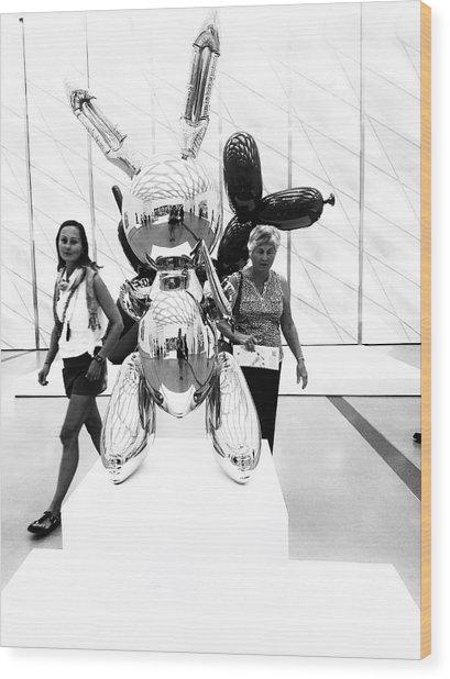 Self Portrait In Jeff Koons Mylar Rabbit Balloon Sculpture Wood Print