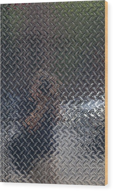 Self Portrait In Steel Wood Print