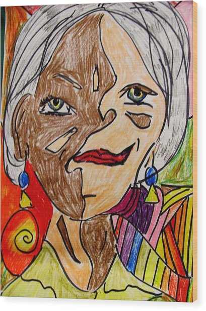 self portrait Picasso style Wood Print by Mona McClave Dunson
