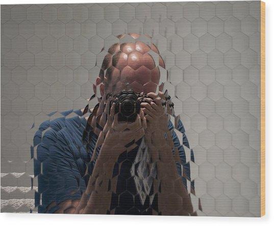 Self-portrait Through A Compound Eye  Wood Print by Gary Chapple