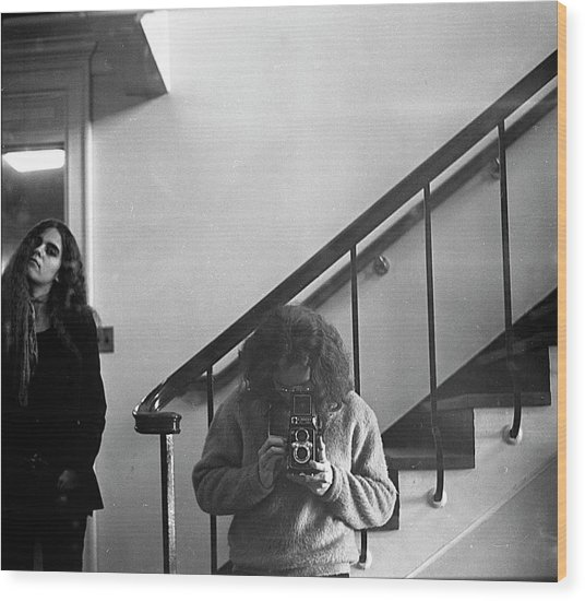 Self-portrait, With Woman, In Mirror, Cropped, 1972 Wood Print