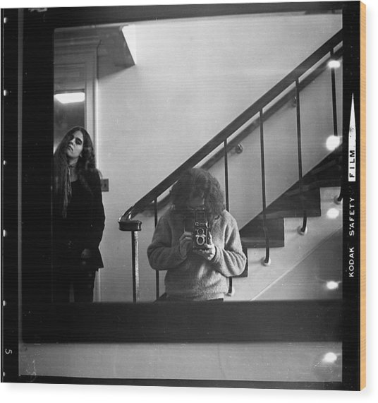 Self-portrait, With Woman, In Mirror, Full Frame, 1972 Wood Print