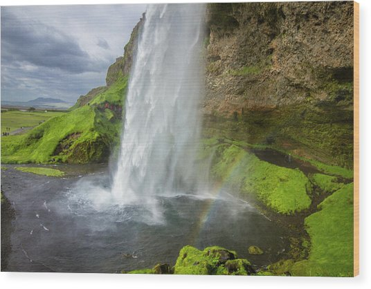 Seljalandsfoss With Rainbow, Iceland Wood Print